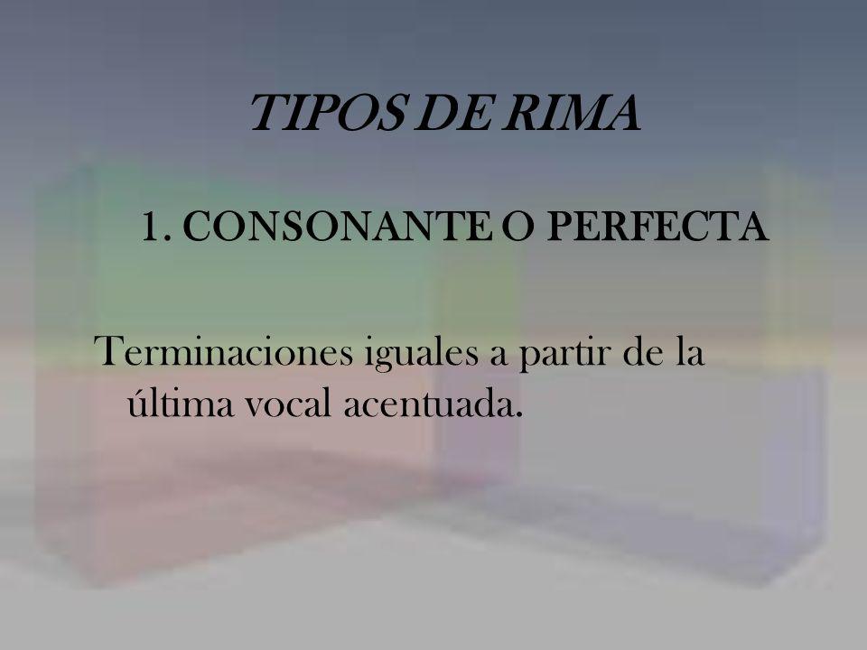TIPOS DE RIMA 1. CONSONANTE O PERFECTA