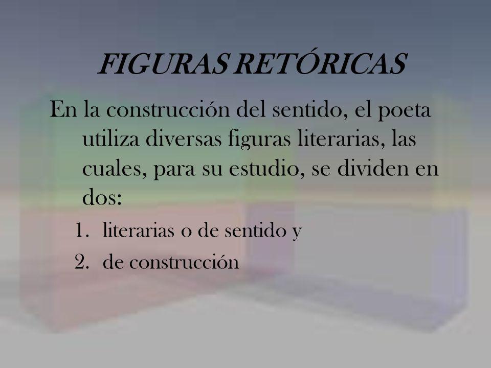 FIGURAS RETÓRICAS En la construcción del sentido, el poeta utiliza diversas figuras literarias, las cuales, para su estudio, se dividen en dos: