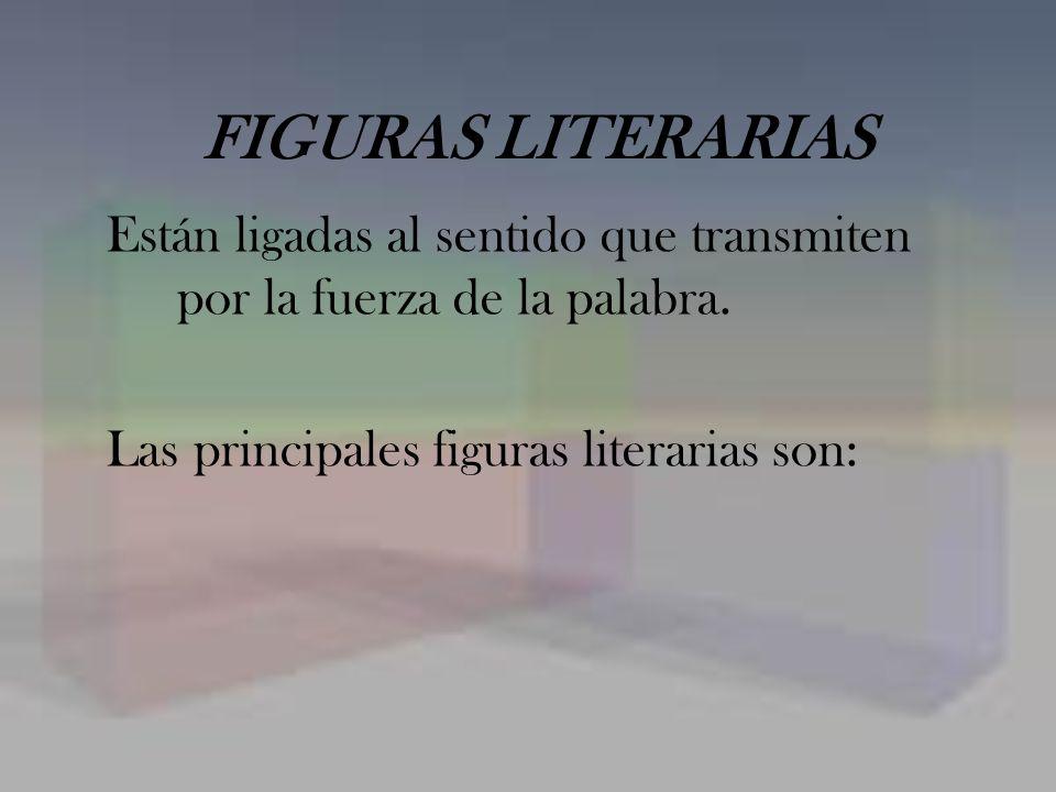 FIGURAS LITERARIAS Están ligadas al sentido que transmiten por la fuerza de la palabra.