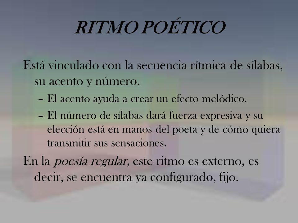 RITMO POÉTICO Está vinculado con la secuencia rítmica de sílabas, su acento y número. El acento ayuda a crear un efecto melódico.