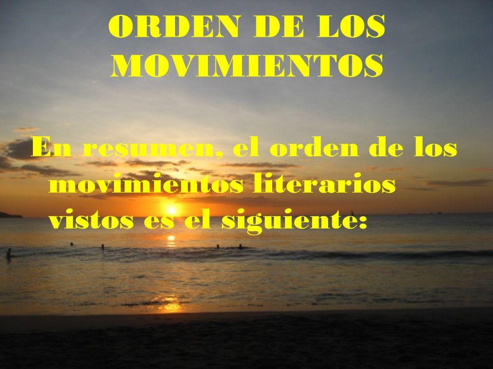 ORDEN DE LOS MOVIMIENTOS
