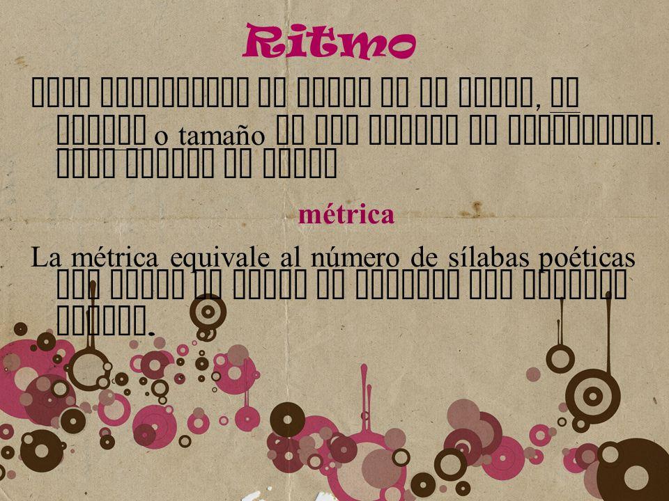 Ritmo Para establecer en ritmo de un poema, la medida o tamaño de los versos es importante. Esta medida se llama.