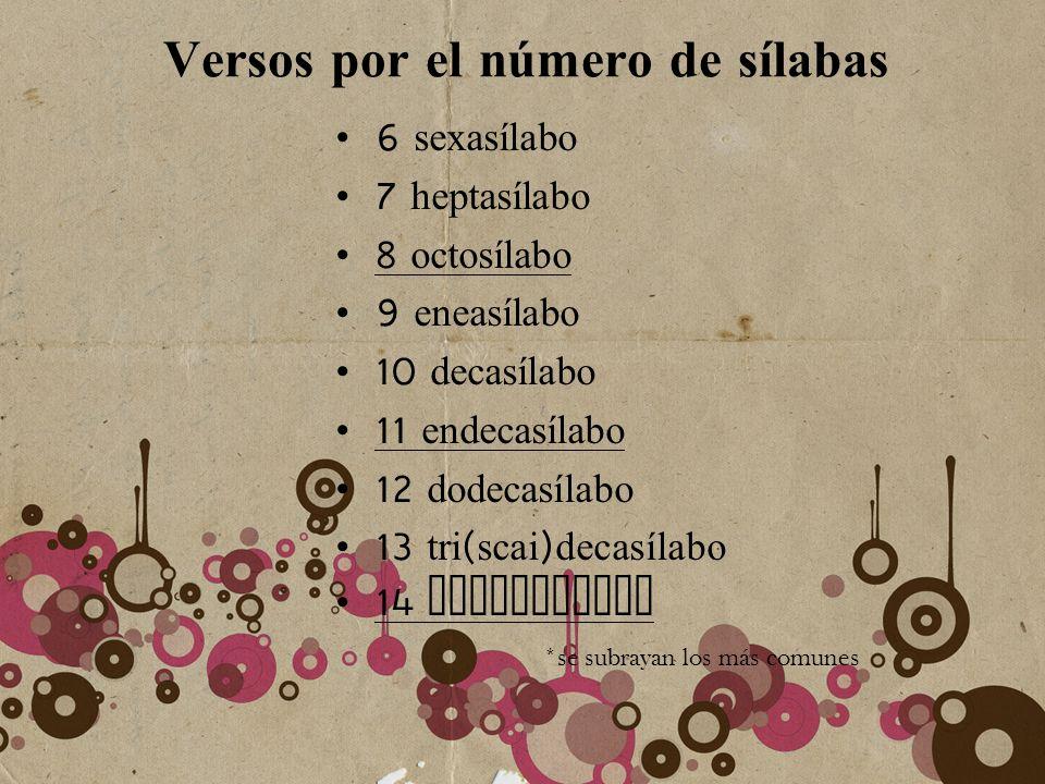 Versos por el número de sílabas