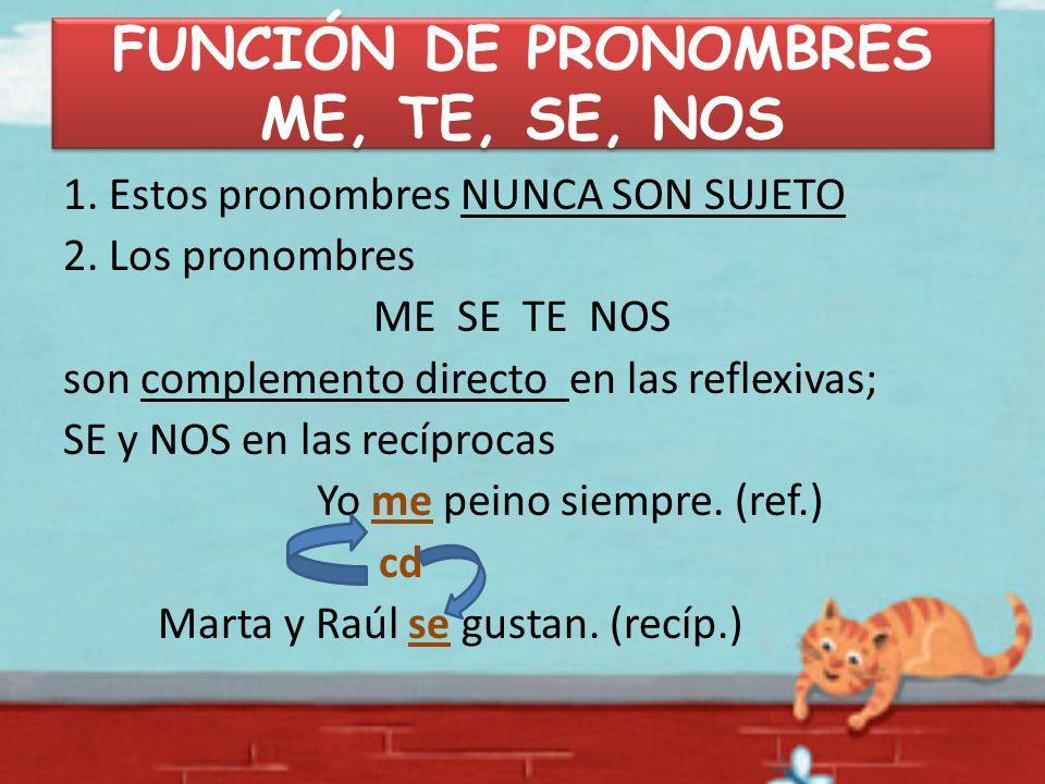 FUNCIÓN DE PRONOMBRES ME, TE, SE, NOS