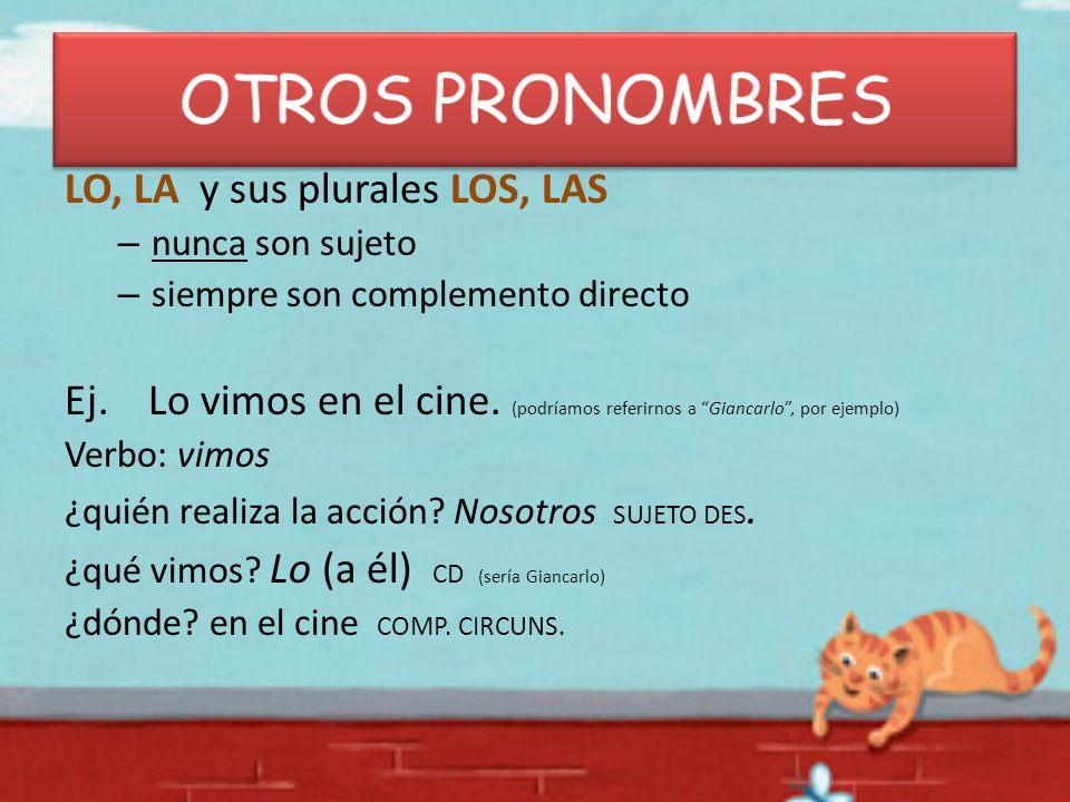 OTROS PRONOMBRES LO, LA y sus plurales LOS, LAS