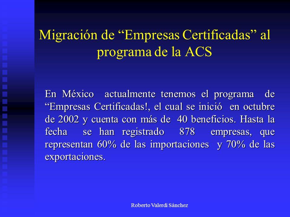 Migración de Empresas Certificadas al programa de la ACS