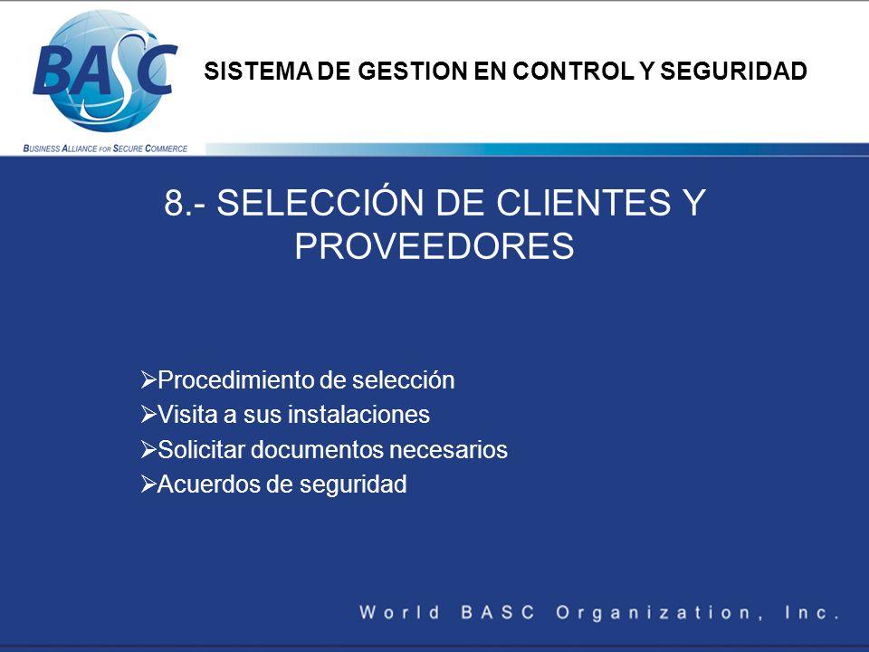 8.- SELECCIÓN DE CLIENTES Y PROVEEDORES