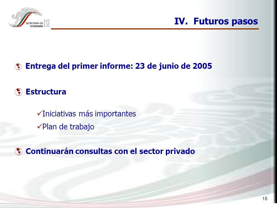 IV. Futuros pasos Estructura Iniciativas más importantes