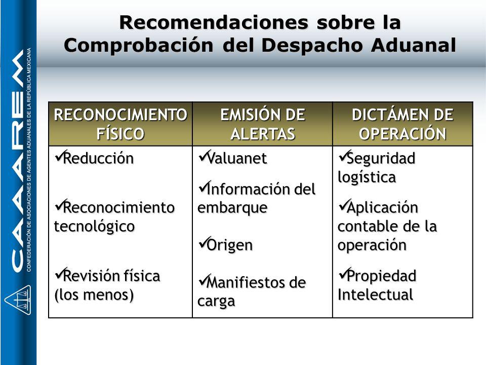 Recomendaciones sobre la Comprobación del Despacho Aduanal