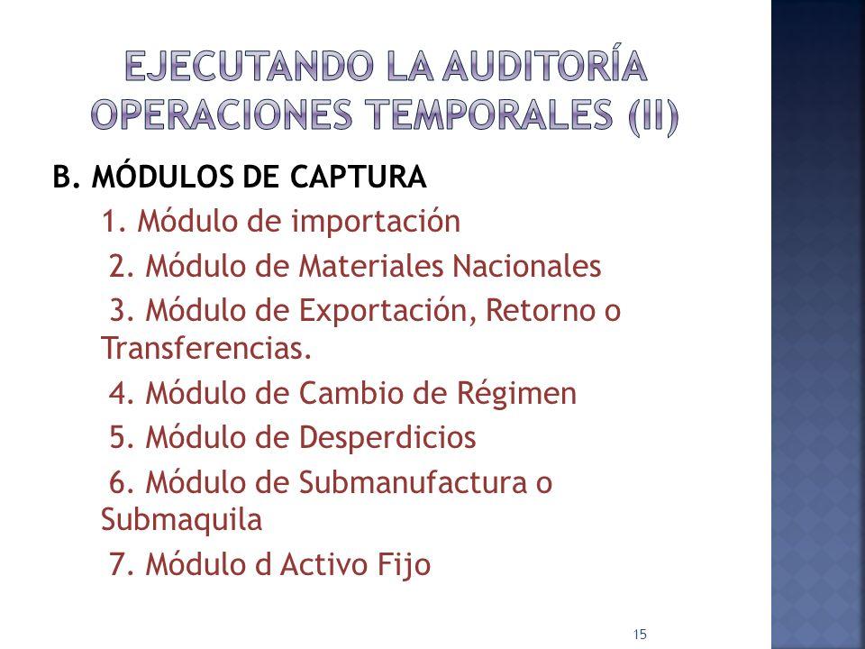 EJECUTANDO LA AUDITORÍA OPERACIONES TEMPORALES (II)