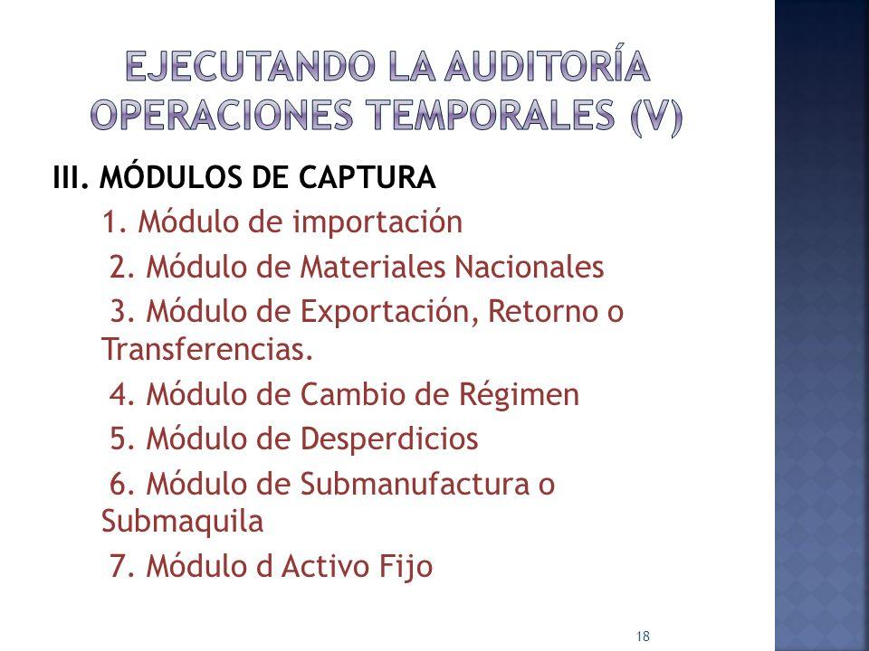 EJECUTANDO LA AUDITORÍA OPERACIONES TEMPORALES (V)