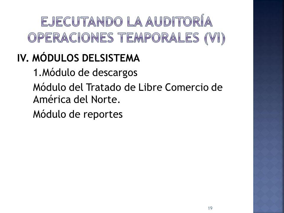 EJECUTANDO LA AUDITORÍA OPERACIONES TEMPORALES (VI)