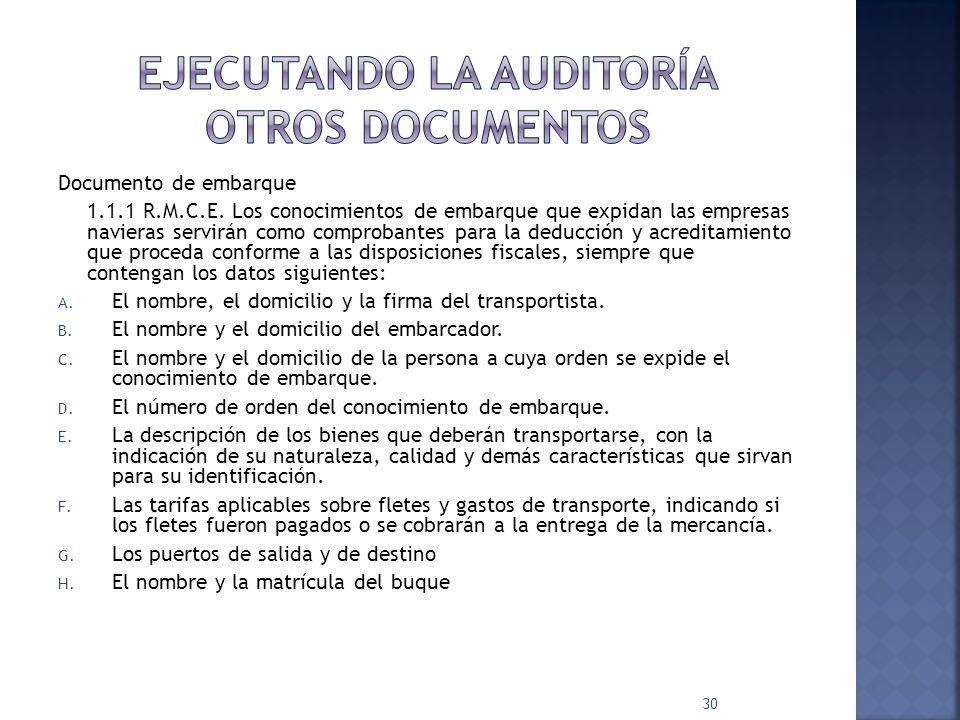 Ejecutando la auditoría otros documentos