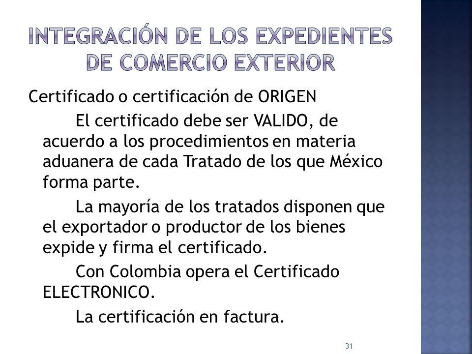 Integración de los expedientes de comercio exterior
