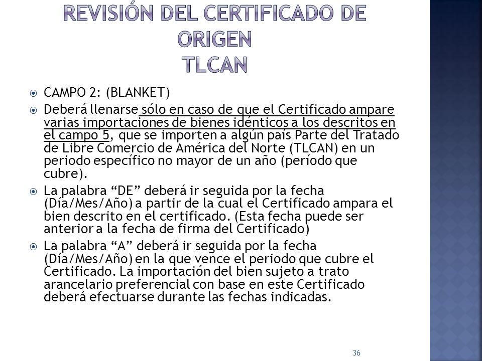 Revisión del certificado de origen tlcan
