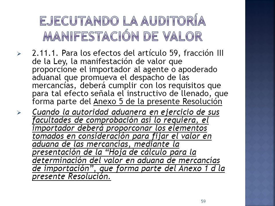 Ejecutando la auditoría manifestación de valor