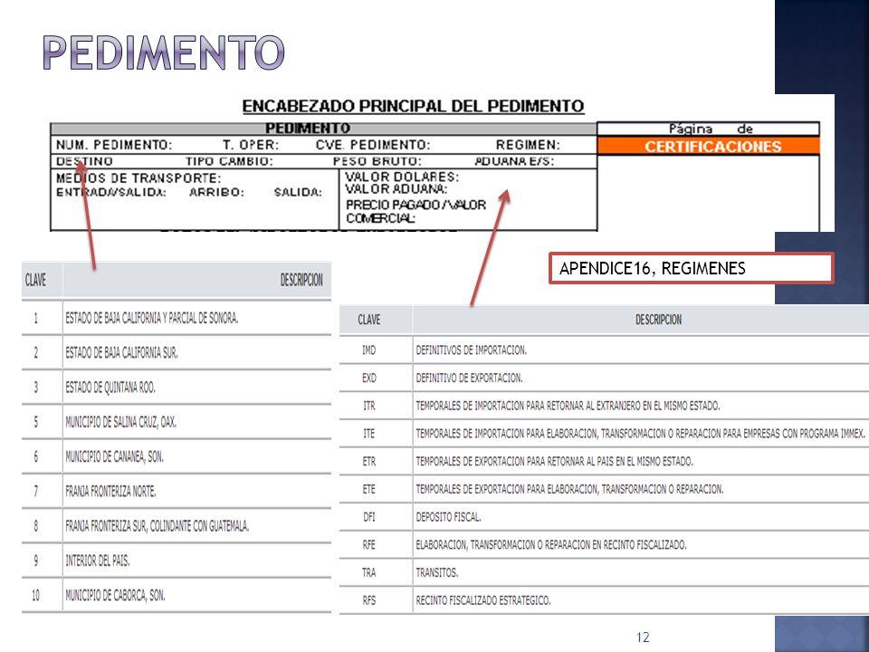 PEDIMENTO APENDICE16, REGIMENES
