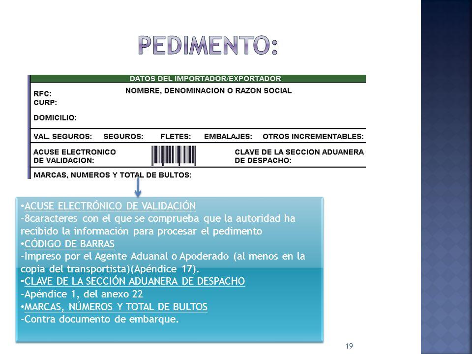 Pedimento: ACUSE ELECTRÓNICO DE VALIDACIÓN