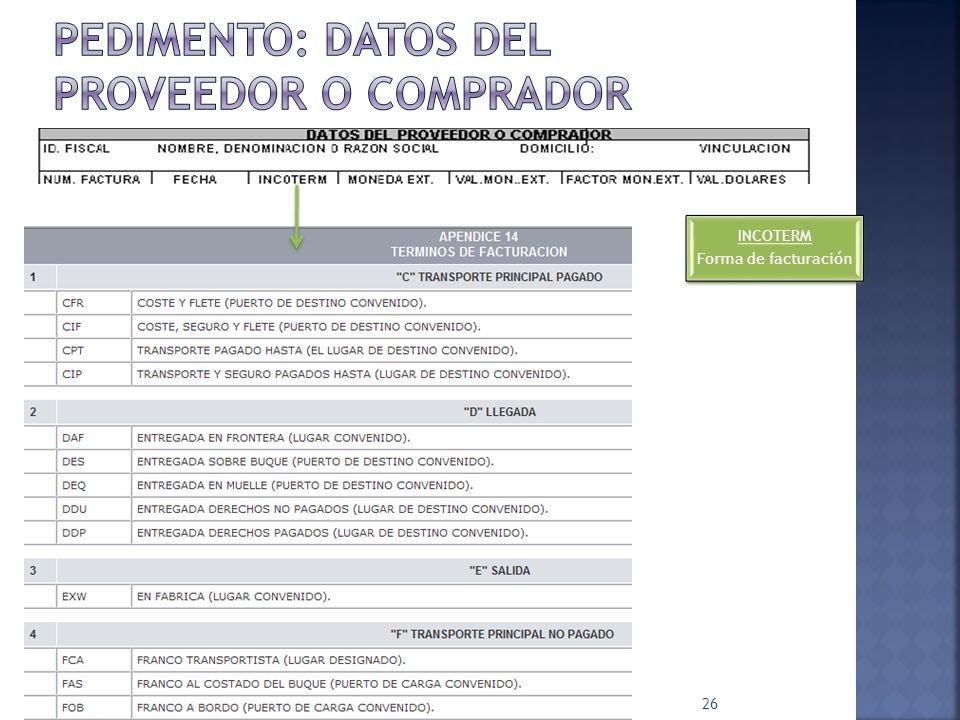PEDIMENTO: Datos del proveedor o comprador