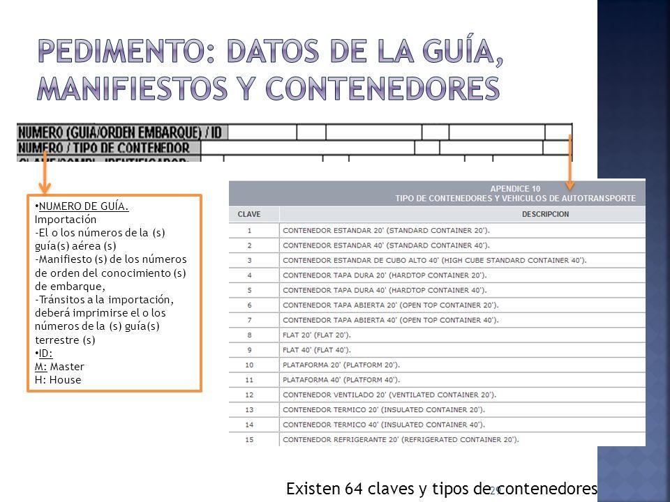 Pedimento: datos de la guía, manifiestos y contenedores