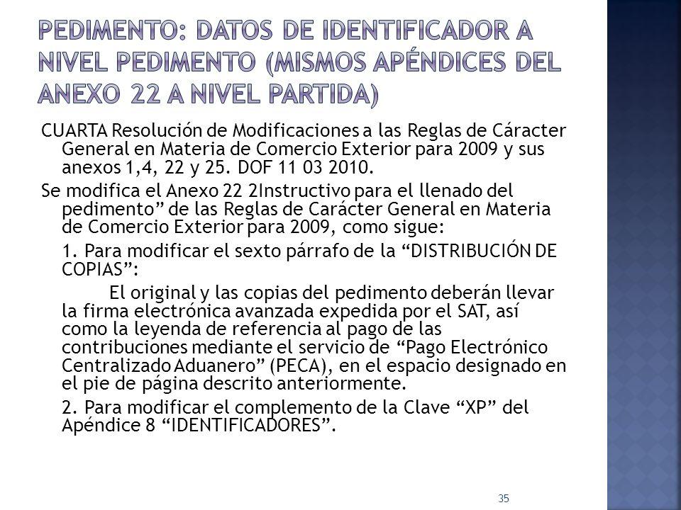 Pedimento: Datos de identificador a nivel pedimento (mismos apéndices del anexo 22 a nivel partida)