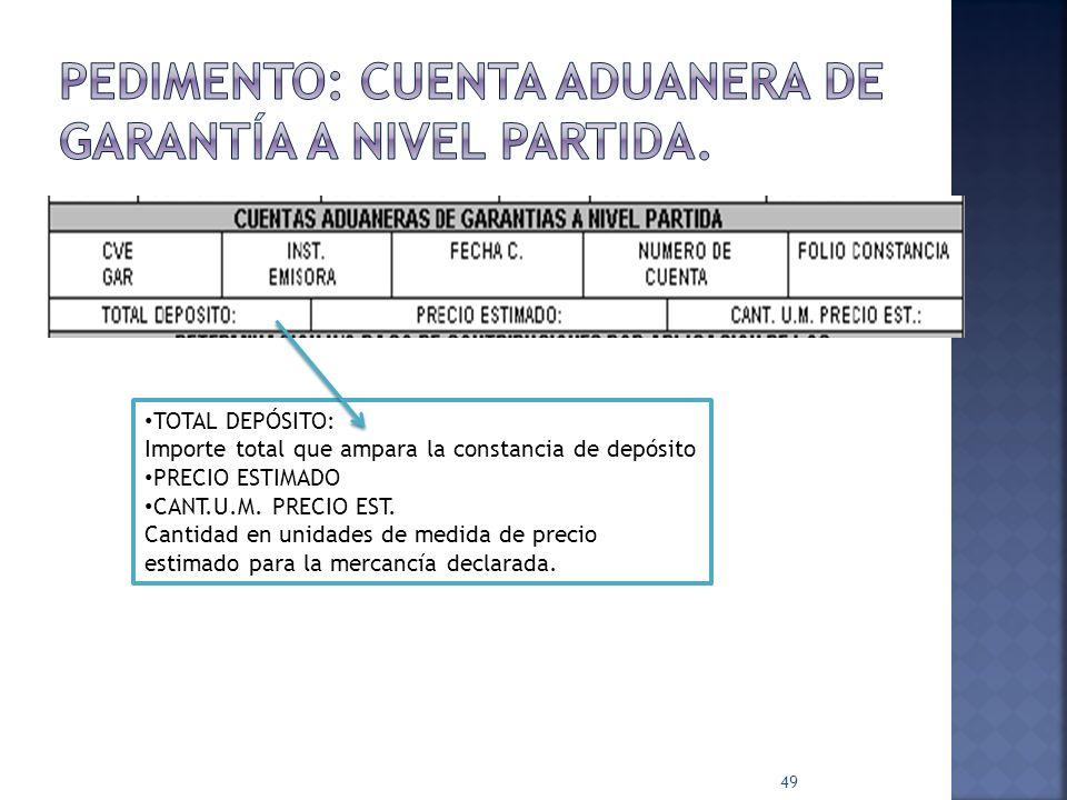 PEDIMENTO: Cuenta aduanera de garantía a nivel partida.
