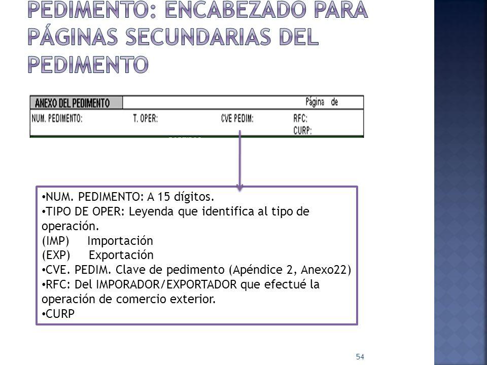Pedimento: EncABEZADO PARA PÁGINAS SECUNDARIAS DEL PEDIMENTO