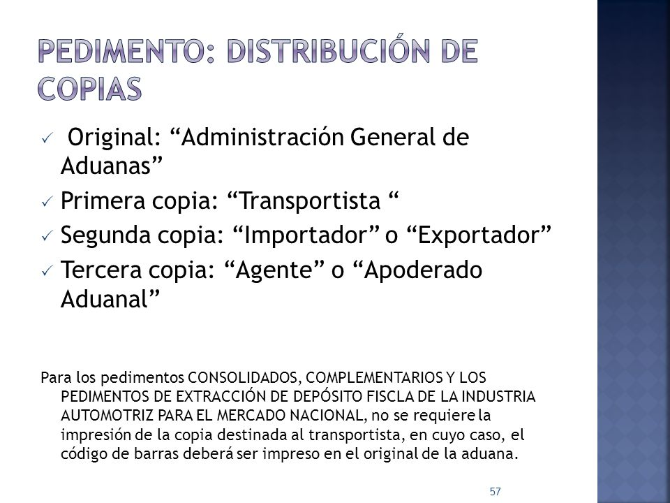 Pedimento: distribución de copias