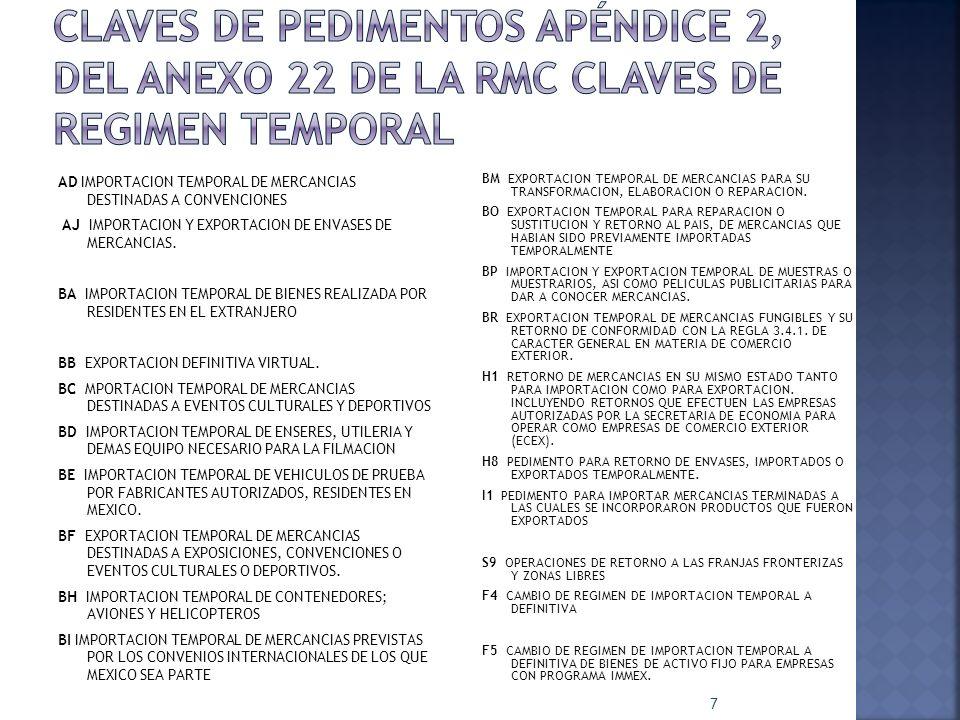 Claves de pedimentos APÉNDICE 2, DEL ANEXO 22 DE LA RMC CLAVES DE REGIMEN TEMPORAL