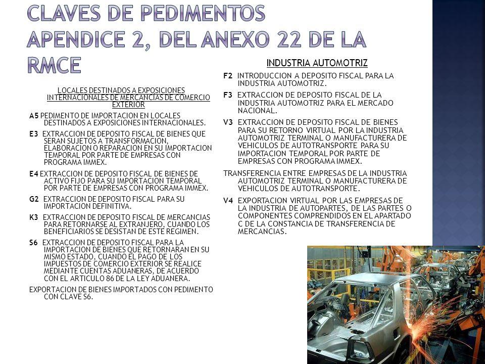 CLAVES DE PEDIMENTOS APENDICE 2, DEL ANEXO 22 DE LA RMCE