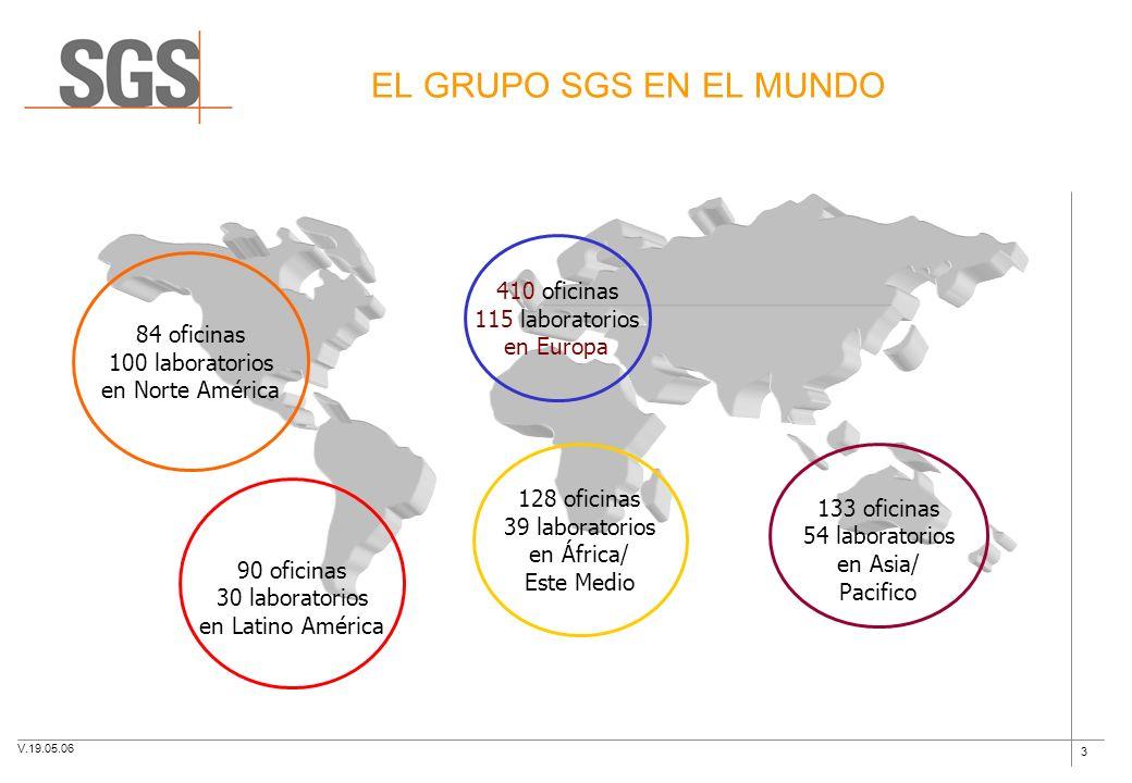 EL GRUPO SGS EN EL MUNDO 410 oficinas 115 laboratorios 84 oficinas
