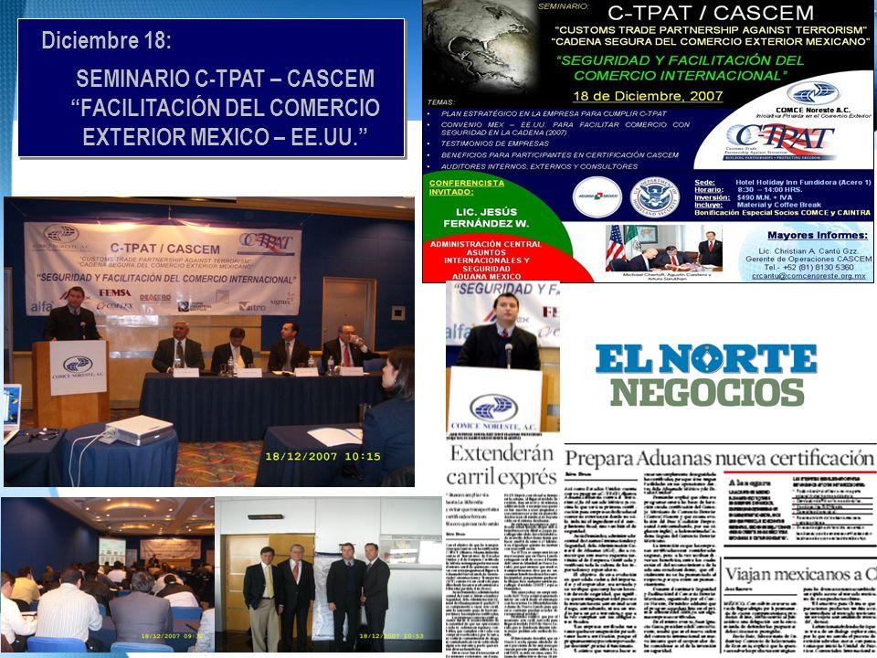 Diciembre 18: SEMINARIO C-TPAT – CASCEM FACILITACIÓN DEL COMERCIO EXTERIOR MEXICO – EE.UU.