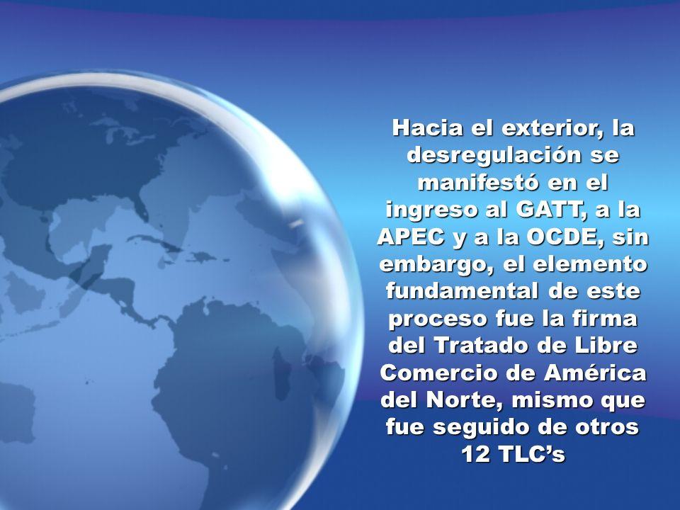 Hacia el exterior, la desregulación se manifestó en el ingreso al GATT, a la APEC y a la OCDE, sin embargo, el elemento fundamental de este proceso fue la firma del Tratado de Libre Comercio de América del Norte, mismo que fue seguido de otros 12 TLC's