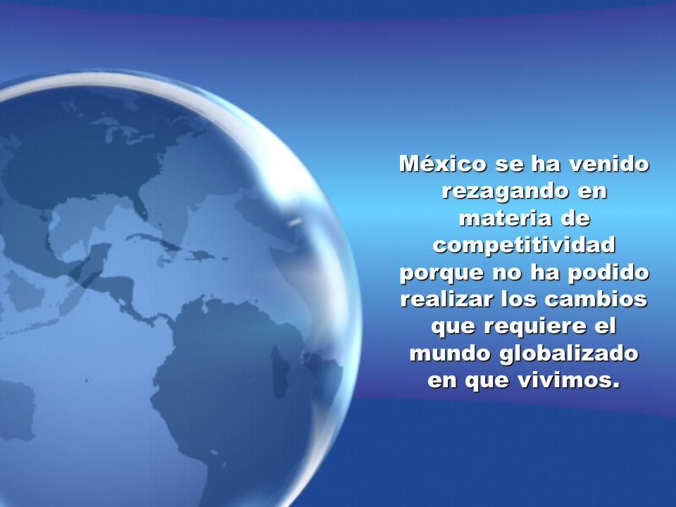 México se ha venido rezagando en materia de competitividad porque no ha podido realizar los cambios que requiere el mundo globalizado en que vivimos.