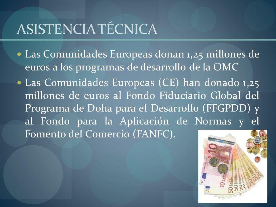 ASISTENCIA TÉCNICA Las Comunidades Europeas donan 1,25 millones de euros a los programas de desarrollo de la OMC.
