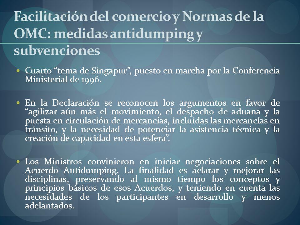 Facilitación del comercio y Normas de la OMC: medidas antidumping y subvenciones