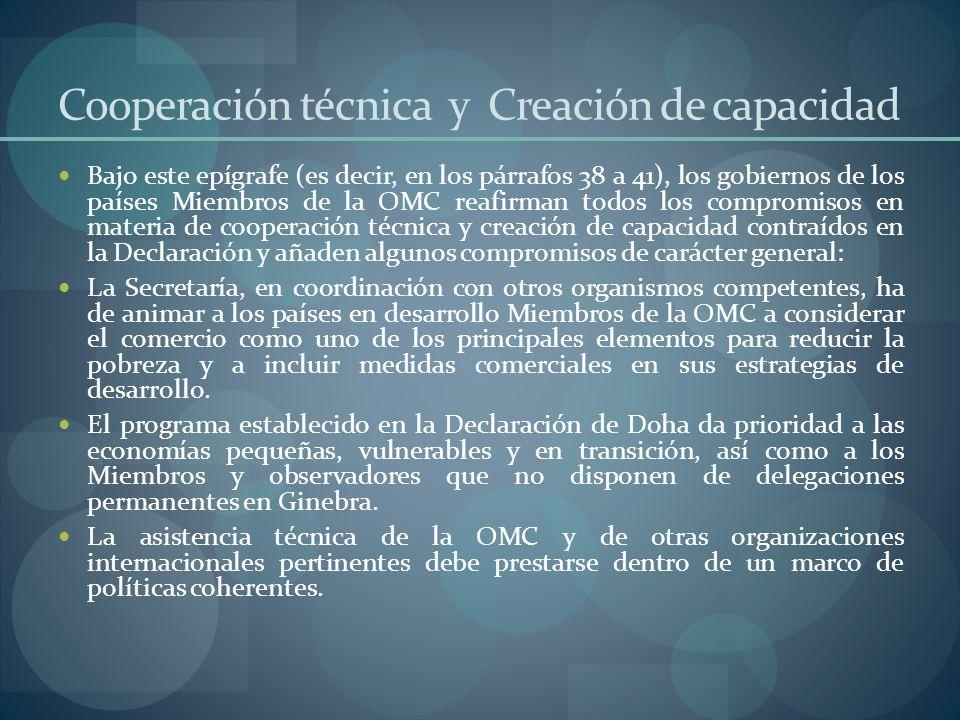 Cooperación técnica y Creación de capacidad
