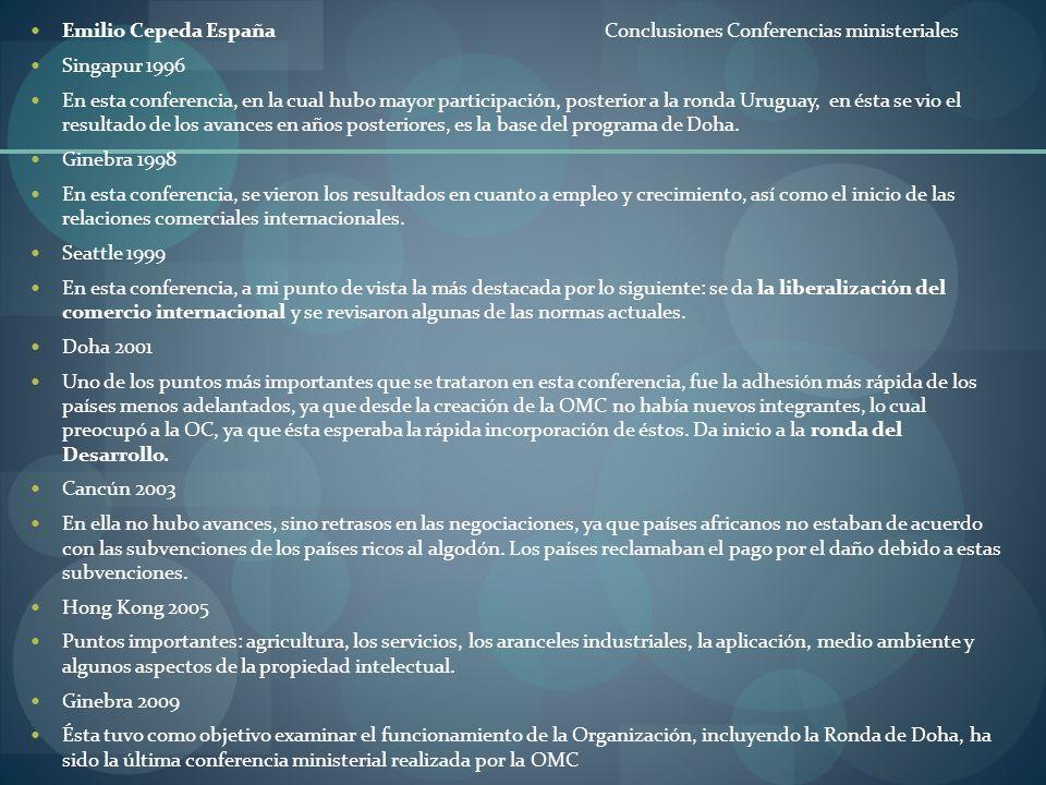 Emilio Cepeda España Conclusiones Conferencias ministeriales