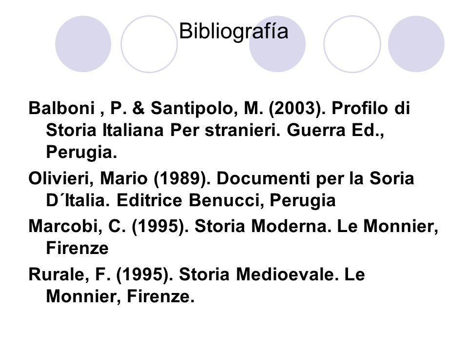 Bibliografía Balboni , P. & Santipolo, M. (2003). Profilo di Storia Italiana Per stranieri. Guerra Ed., Perugia.