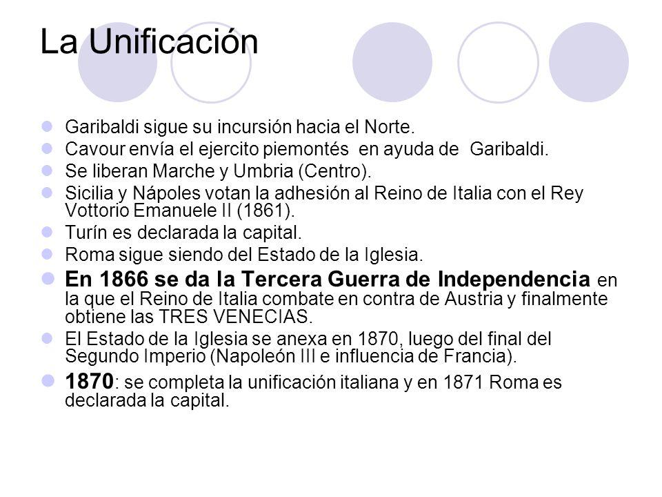 La Unificación Garibaldi sigue su incursión hacia el Norte. Cavour envía el ejercito piemontés en ayuda de Garibaldi.