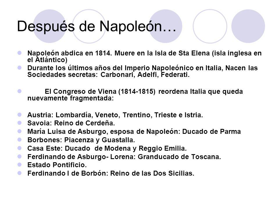 Después de Napoleón… Napoleón abdica en 1814. Muere en la Isla de Sta Elena (isla inglesa en el Atlántico)