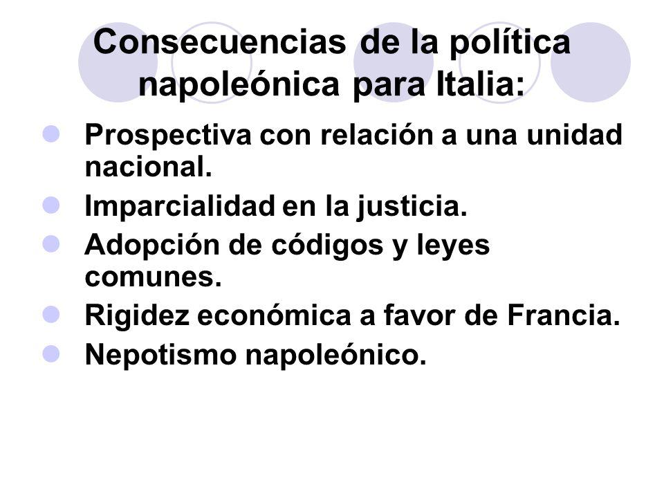 Consecuencias de la política napoleónica para Italia: