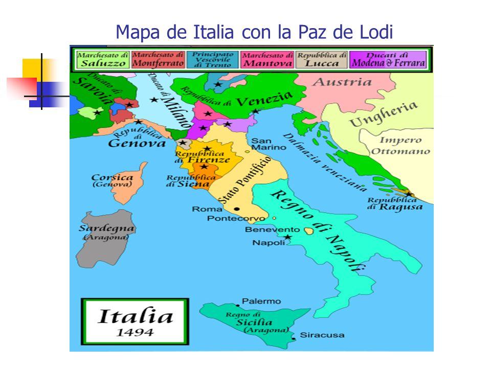Mapa de Italia con la Paz de Lodi