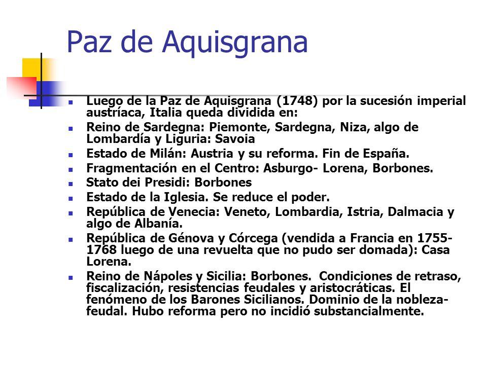 Paz de Aquisgrana Luego de la Paz de Aquisgrana (1748) por la sucesión imperial austríaca, Italia queda dividida en: