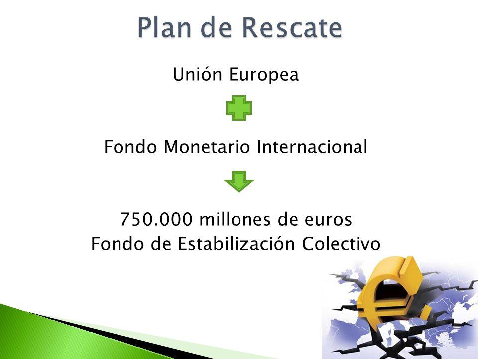 Plan de Rescate Unión Europea Fondo Monetario Internacional 750.000 millones de euros Fondo de Estabilización Colectivo