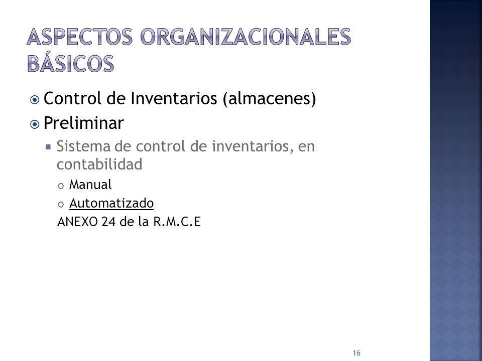 Aspectos organizacionales básicos