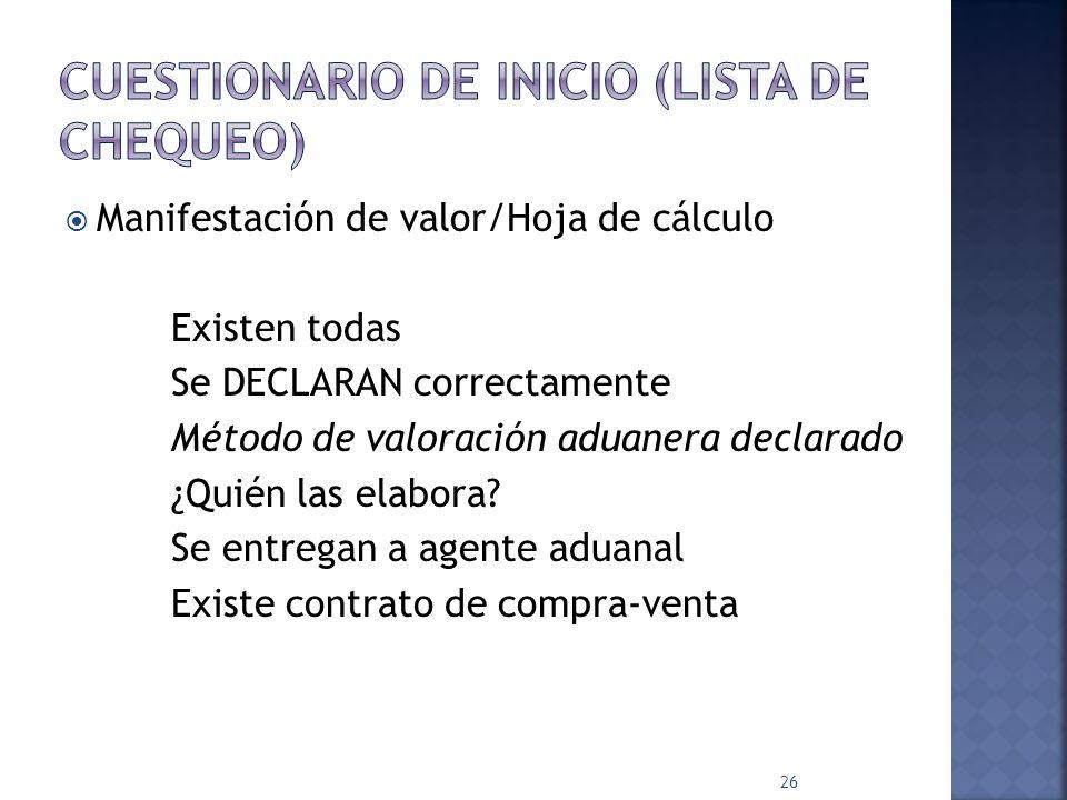 CUESTIONARIO DE INICIO (Lista de Chequeo)