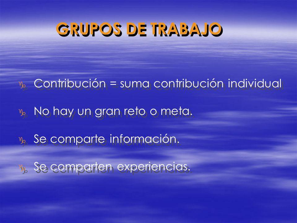 GRUPOS DE TRABAJO Contribución = suma contribución individual