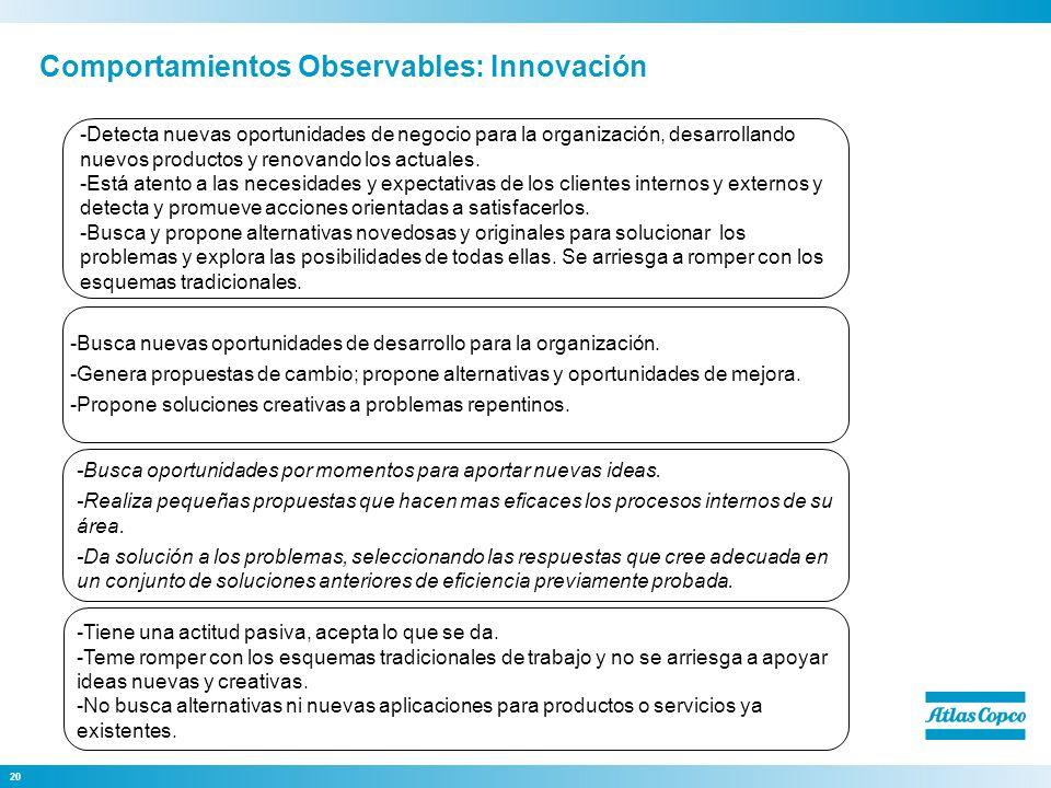 Comportamientos Observables: Innovación