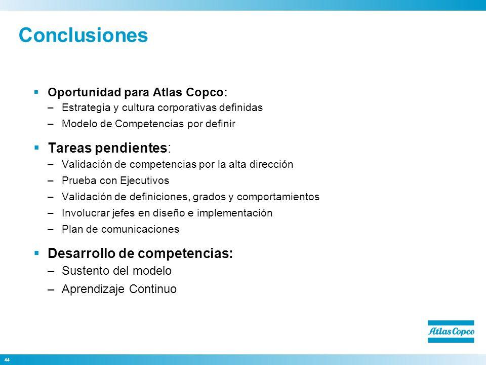 Conclusiones Tareas pendientes: Desarrollo de competencias: